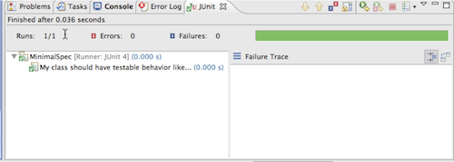 Screenshot of JUnit view after running MinimalSpec with ScalaTest