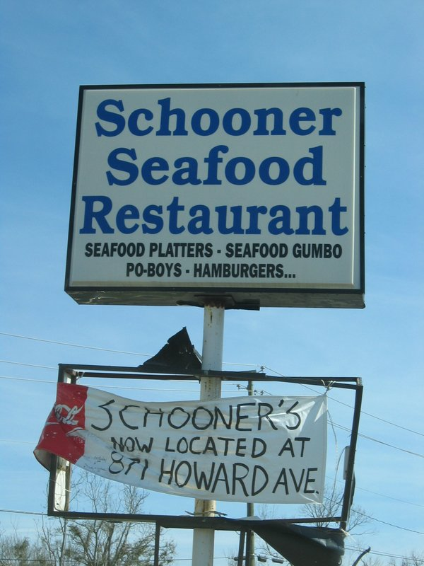 Old sign for Schooner's